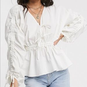 Asos Cotton Top with ruched sleeve